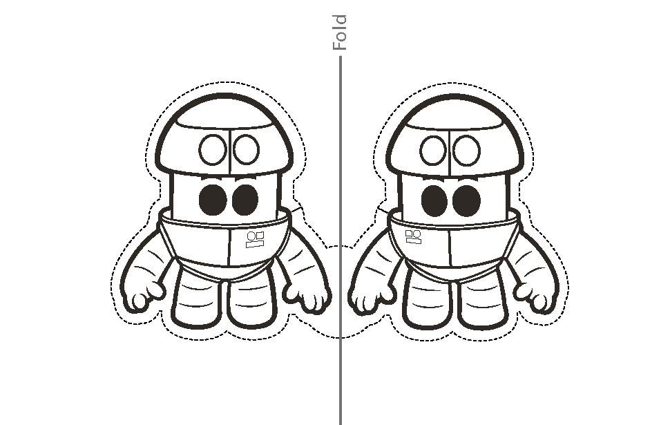 Printable Grimbot finger puppet